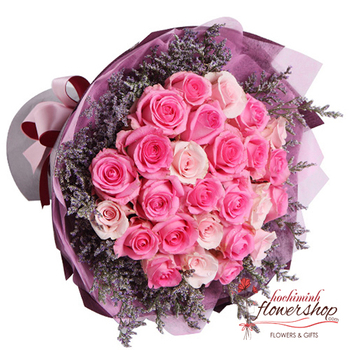 buy pink rose in hochiminh flower shopp